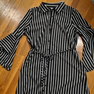 Black and White Striped Bell Sleeve Dress